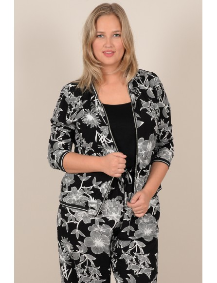 Zip flowers print jacket
