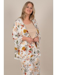 Mid-length jacket with flower