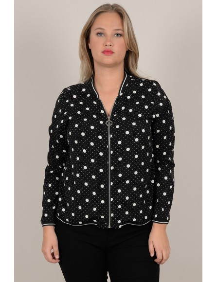 Zipped polka dot print jacket