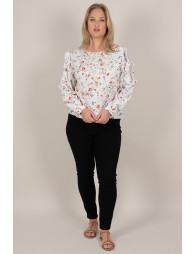 Blouse with flowers and lace