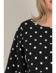 Flared blouse with polka dots