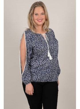 Fancy shoulders printed blouse