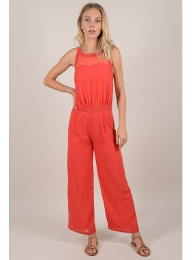 Lace-up back jumpsuit