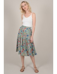 Mid-length skirt floral print.
