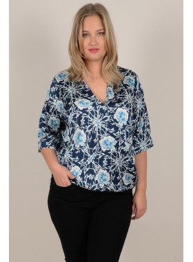 Printed crossover blouse