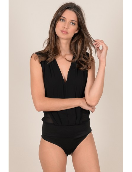V-neck pleated bodysuit