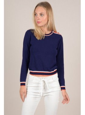 Striped and pearl sweater