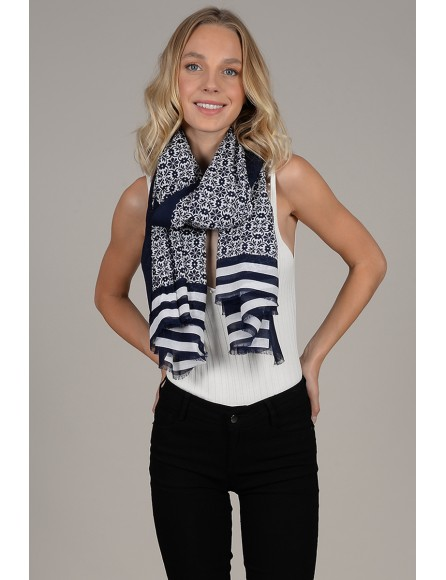 Flowers and stripes scarf