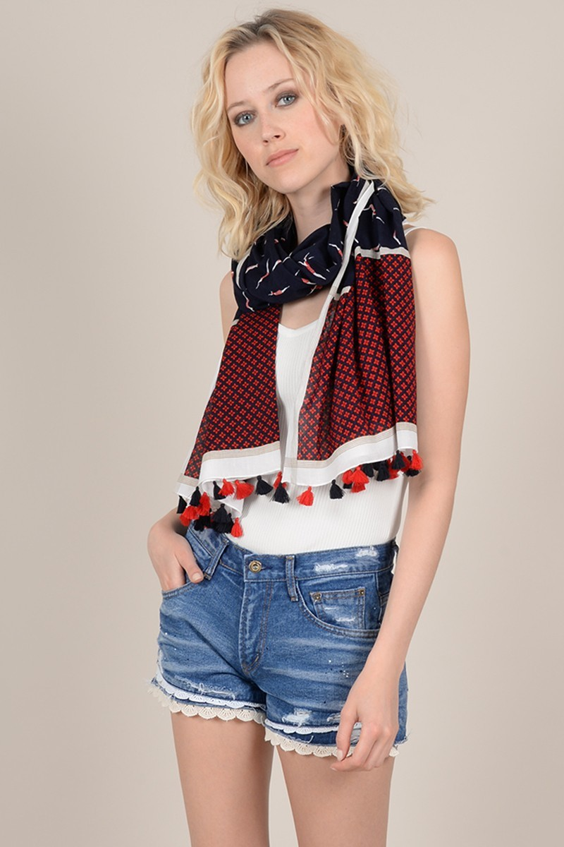 Printed scarf with pompoms