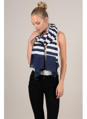 Marine striped scarf