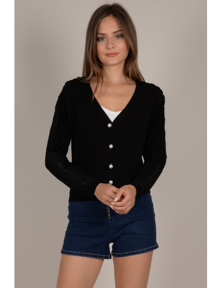 V-neck cardigan with pearl