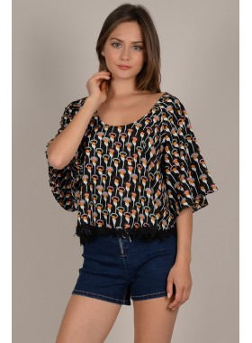 Printed 3/4 large sleeves top
