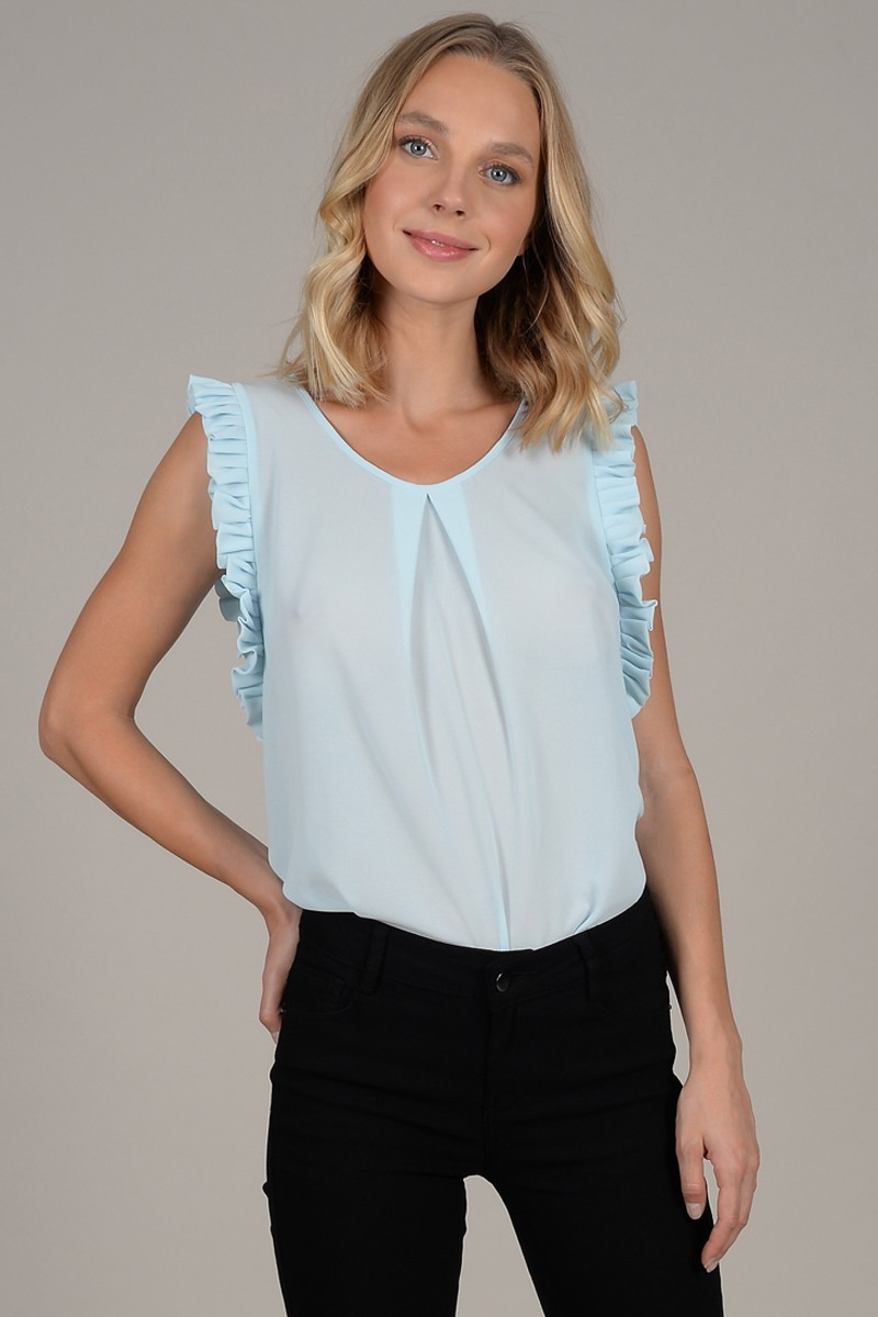 Ruffle sleeveless top