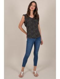 Ruffle dotted print top