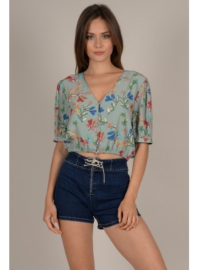 V-neck flower print top
