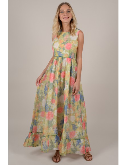 Floral print swing fit maxi dress