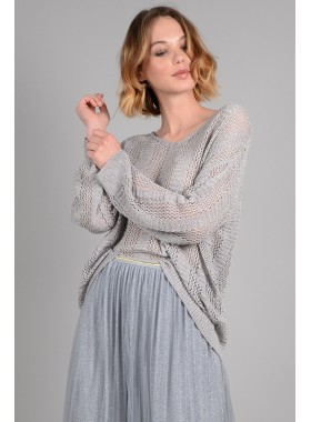 Loose openwork knit sweater