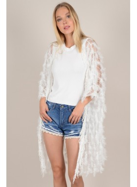 Mid-length jacket with feather effect