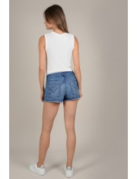 Lace trim denim short