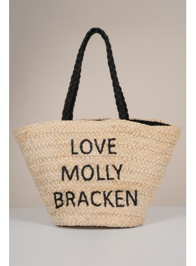 Straw tote with inscription