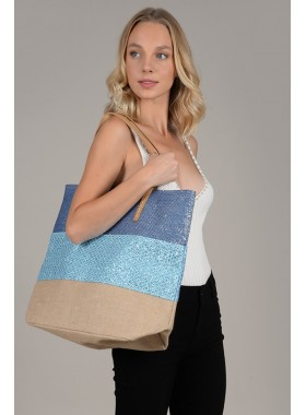 Shopper bag in iridescent canvas