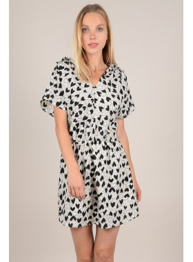 Heart print shift dress