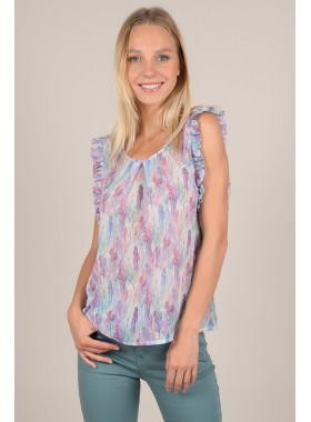 Printed ruffle top