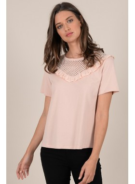 Lace detail shoulder t-shirt