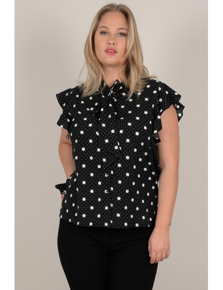 Polka dot and lavalier blouse