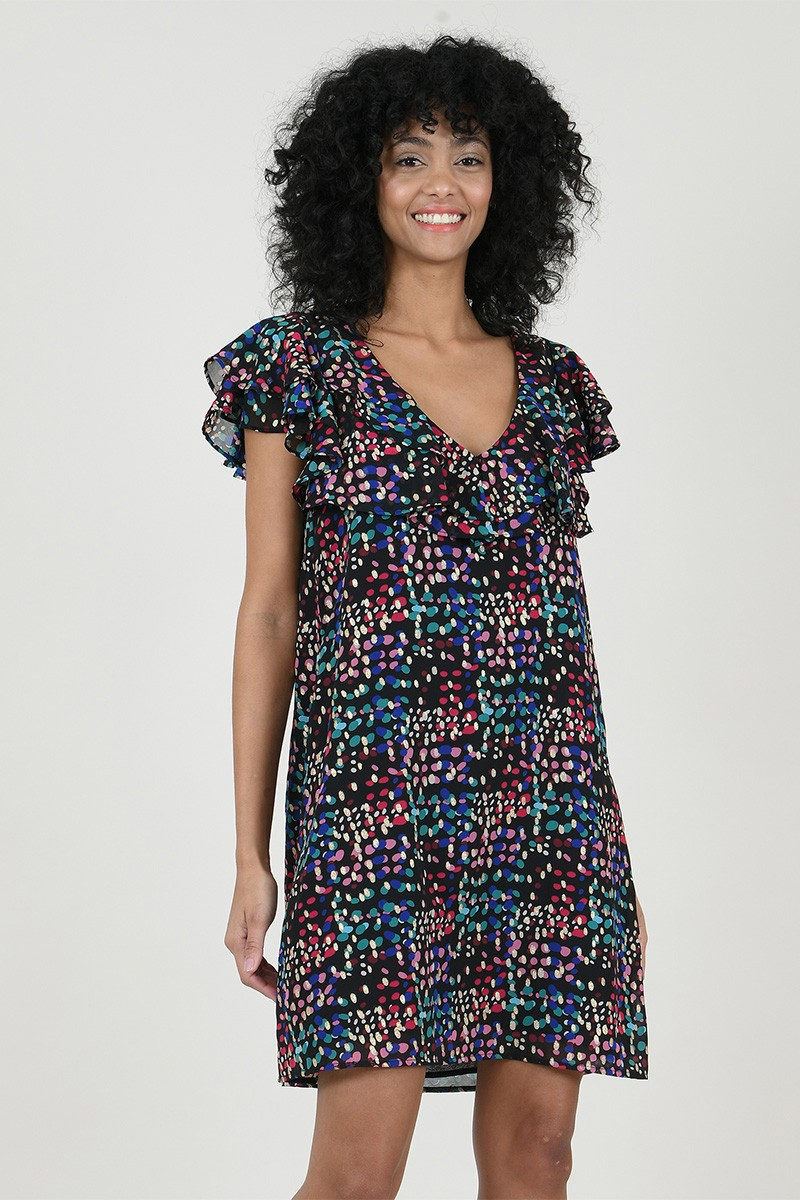 Shift dress in printed veil