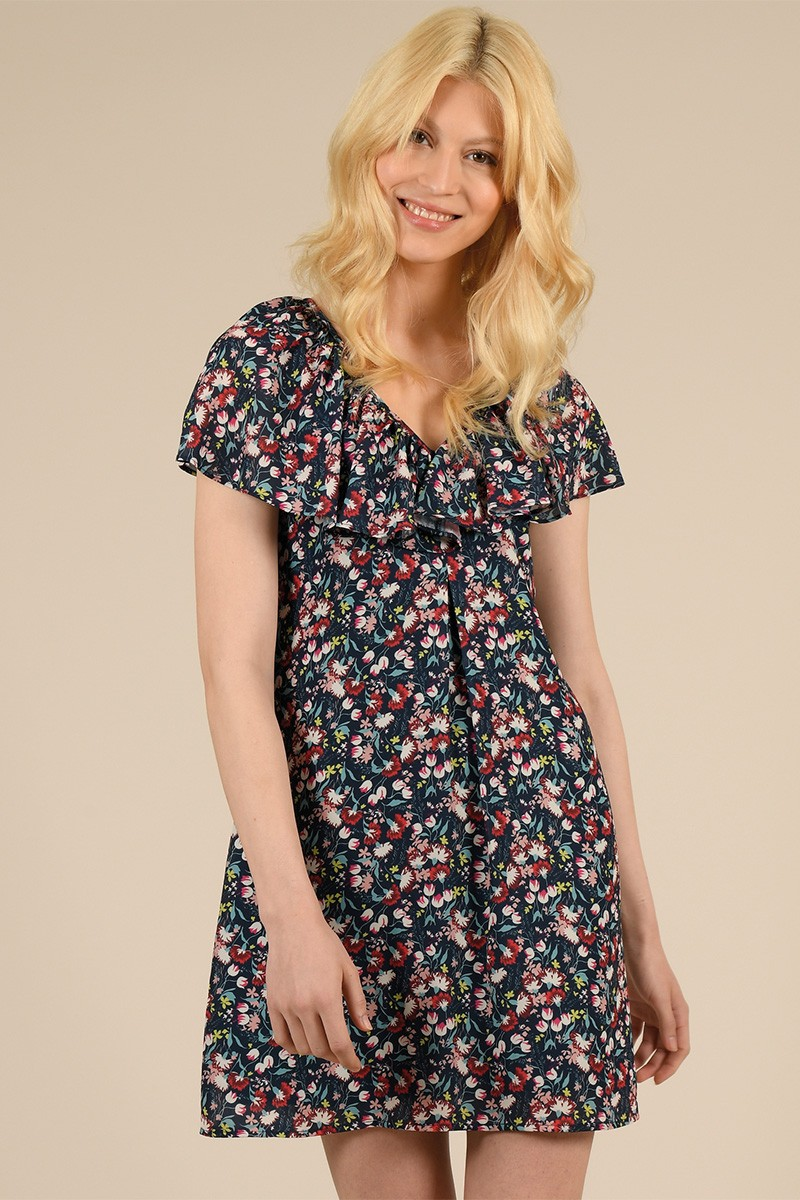 Flounced dress, printed with flowers