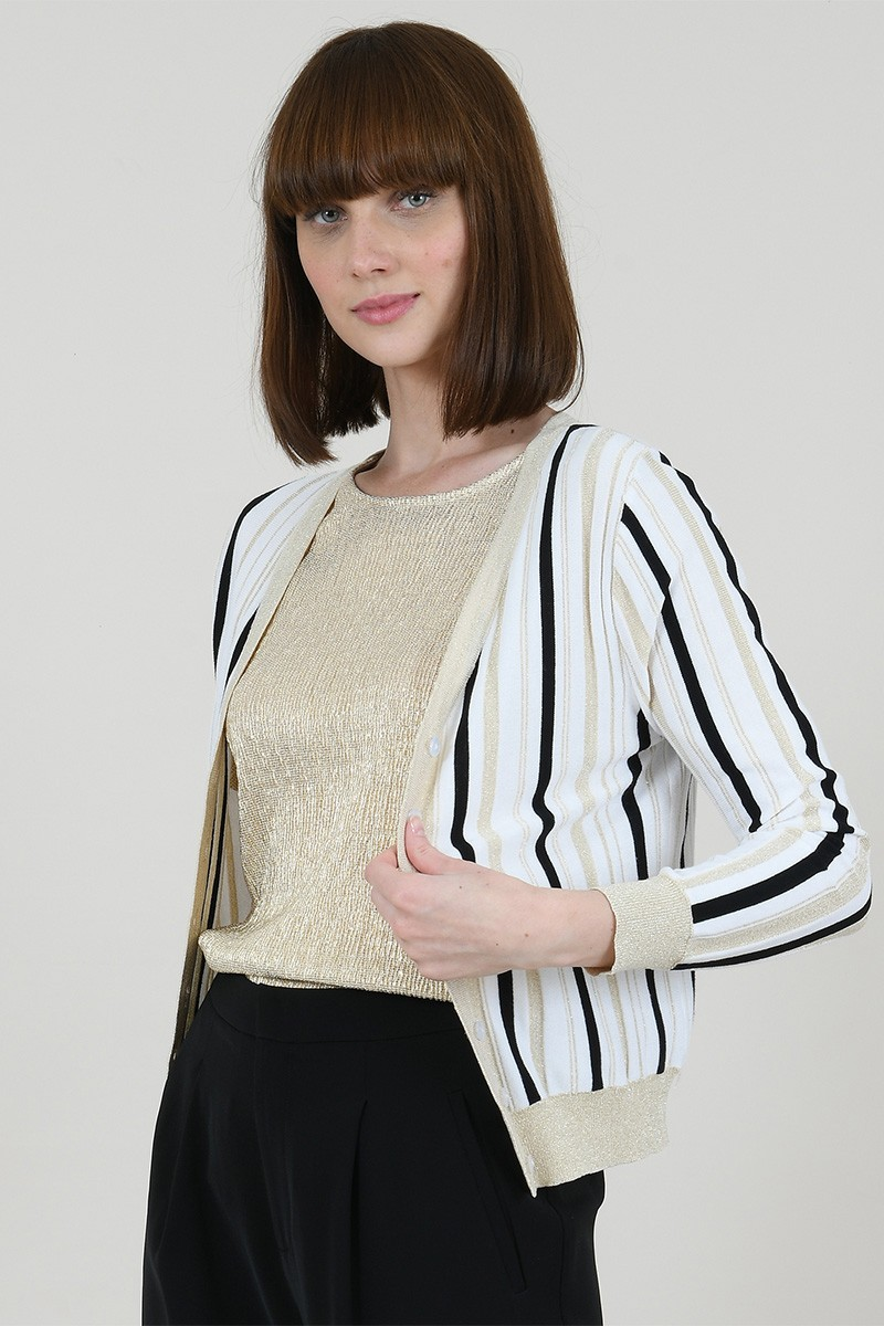 Fine striped cardigan