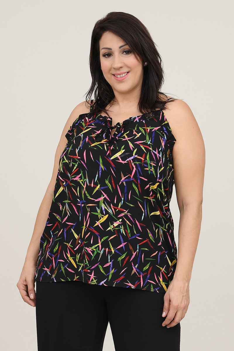 Printed top and thin straps