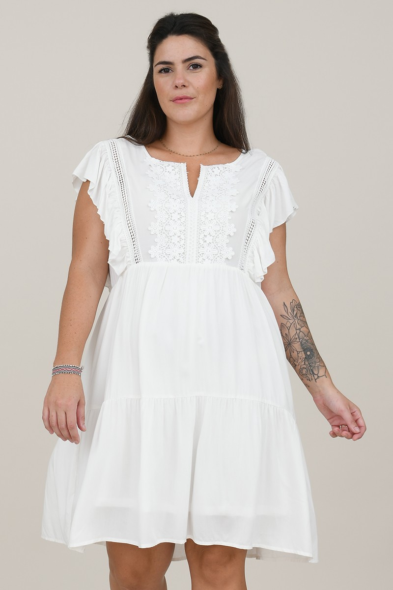 Mini flare dress with lace yoke