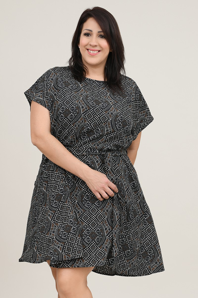Graphic printed flared dress