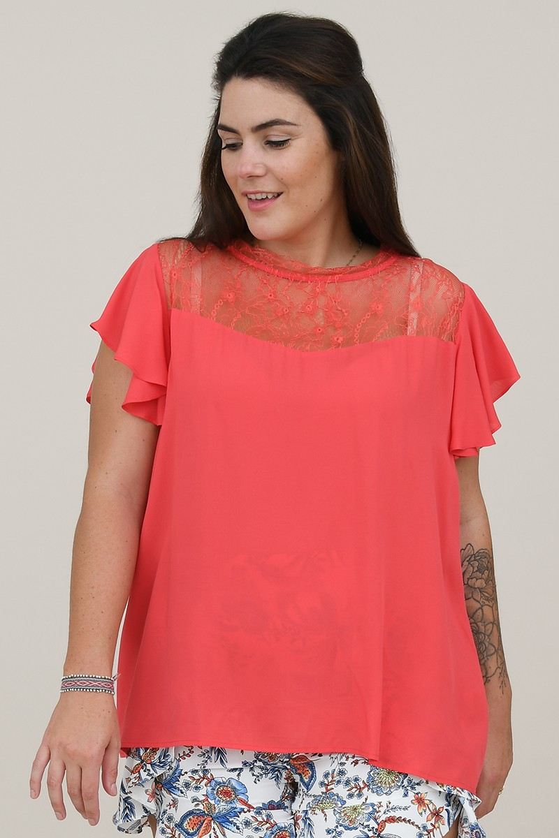 Flared top with lace yoke