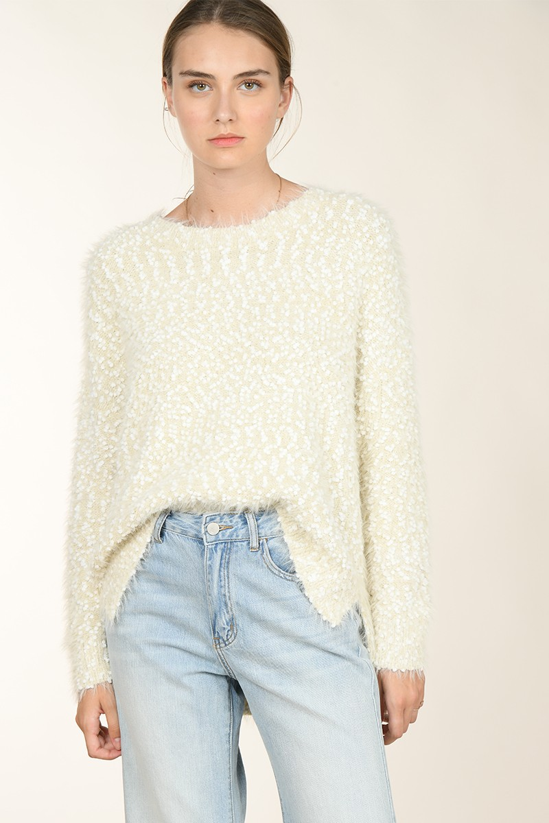 Mix knitted loose jumper