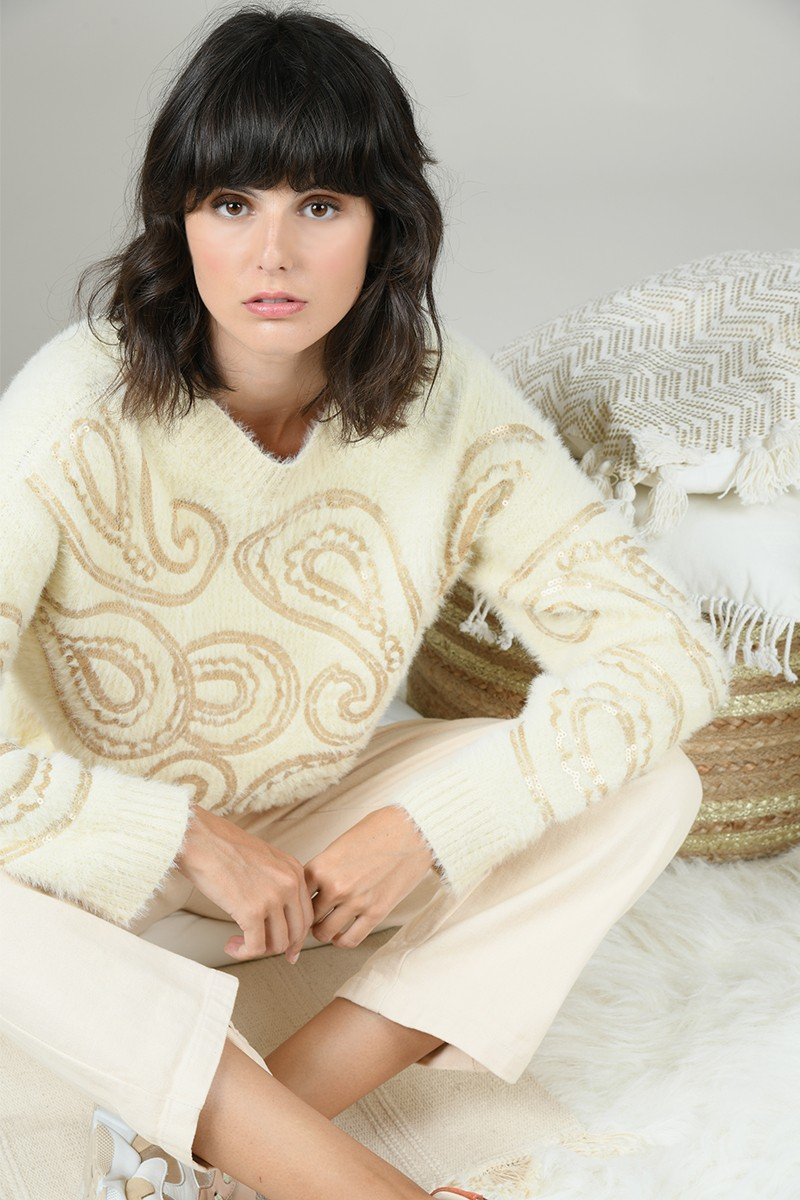 Cropped sequined sweater