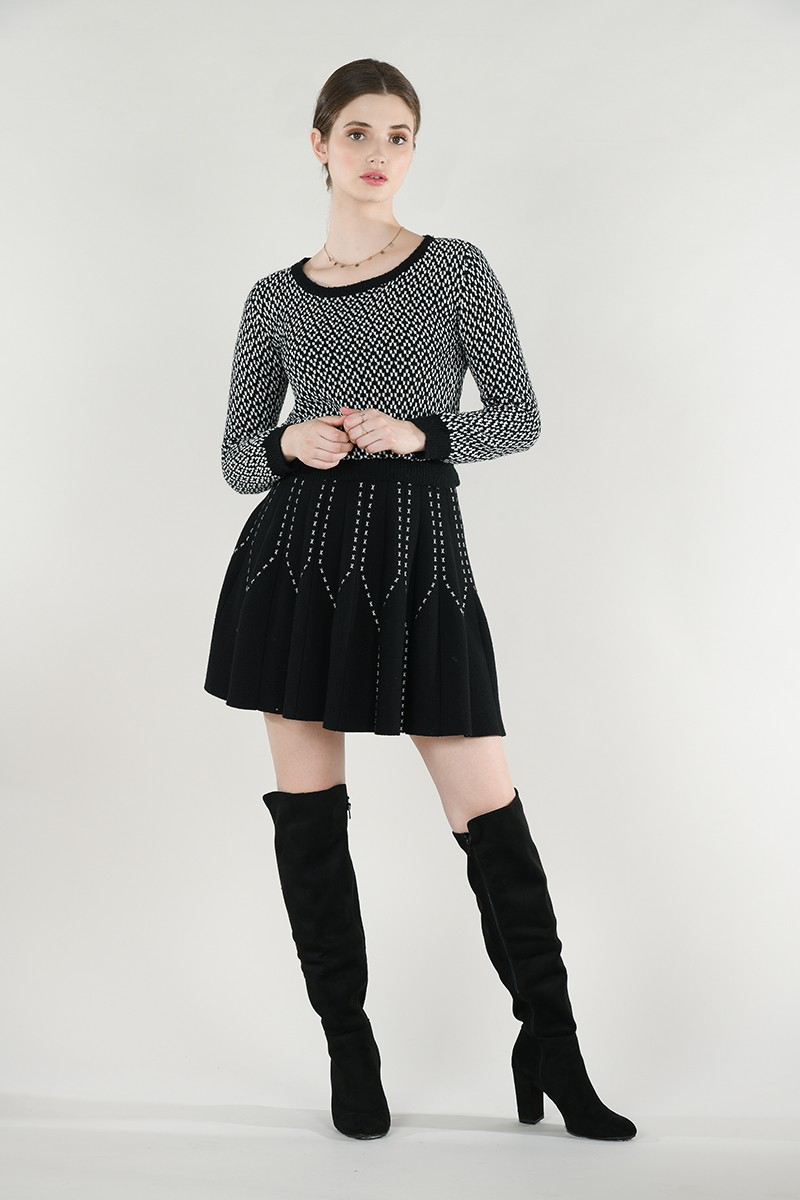 Pull maille mélangée chenille