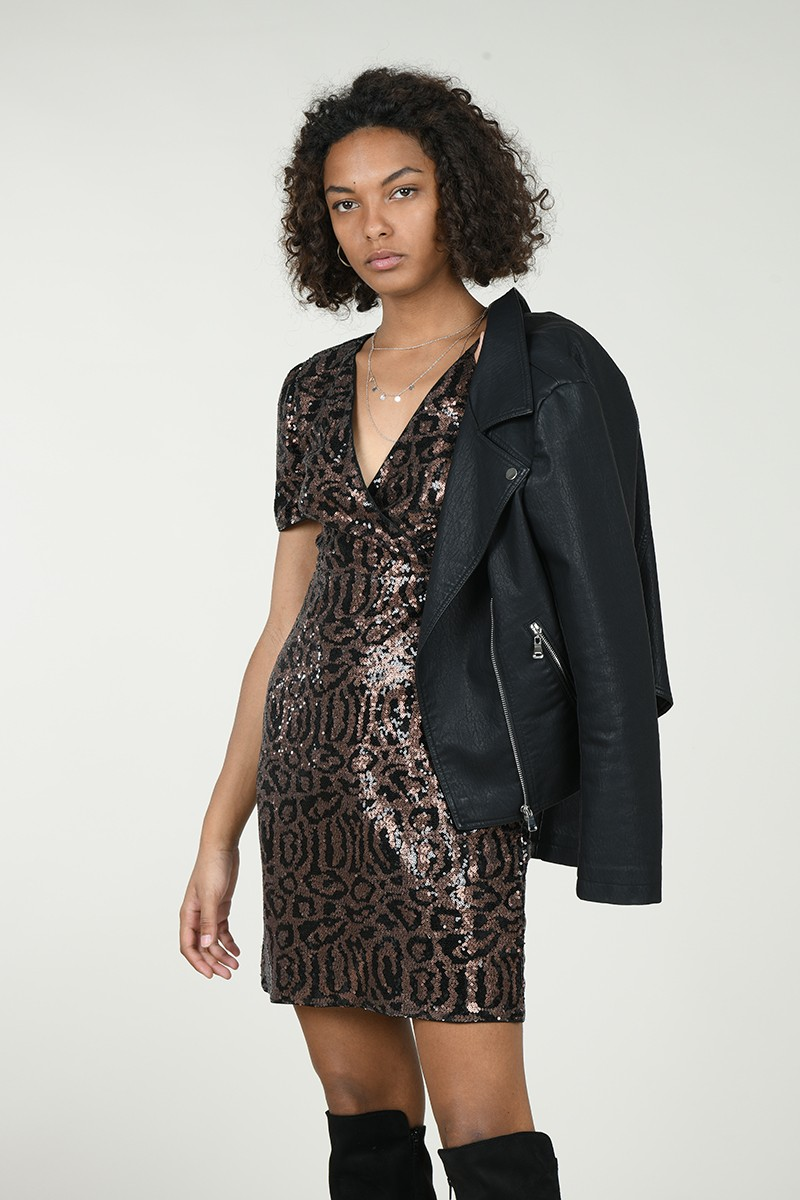 Print sequined dress