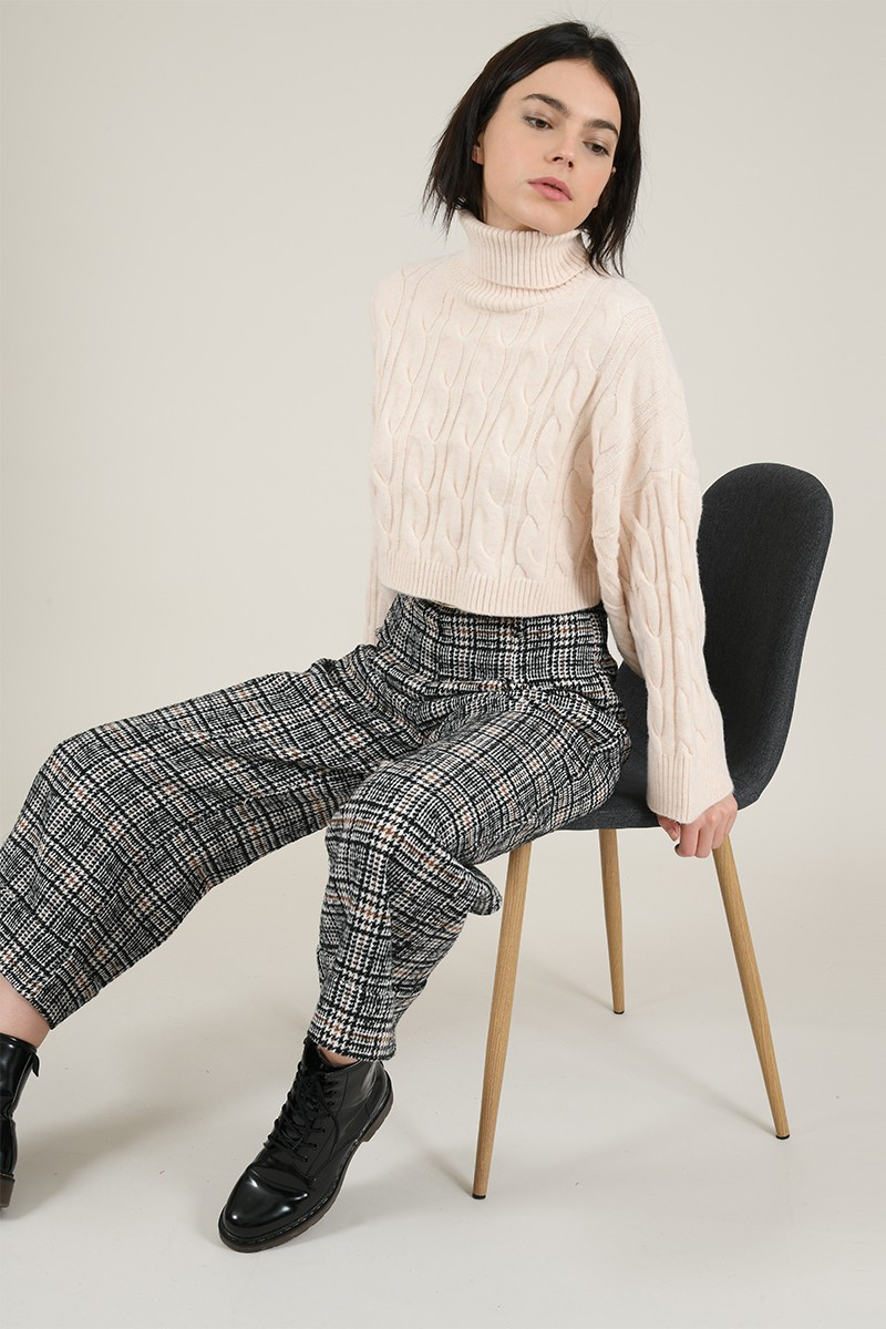 Wide plaid print  pants