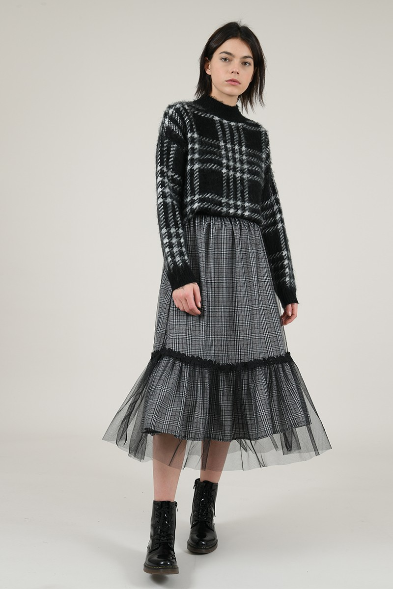 Midi check skirt with tulle