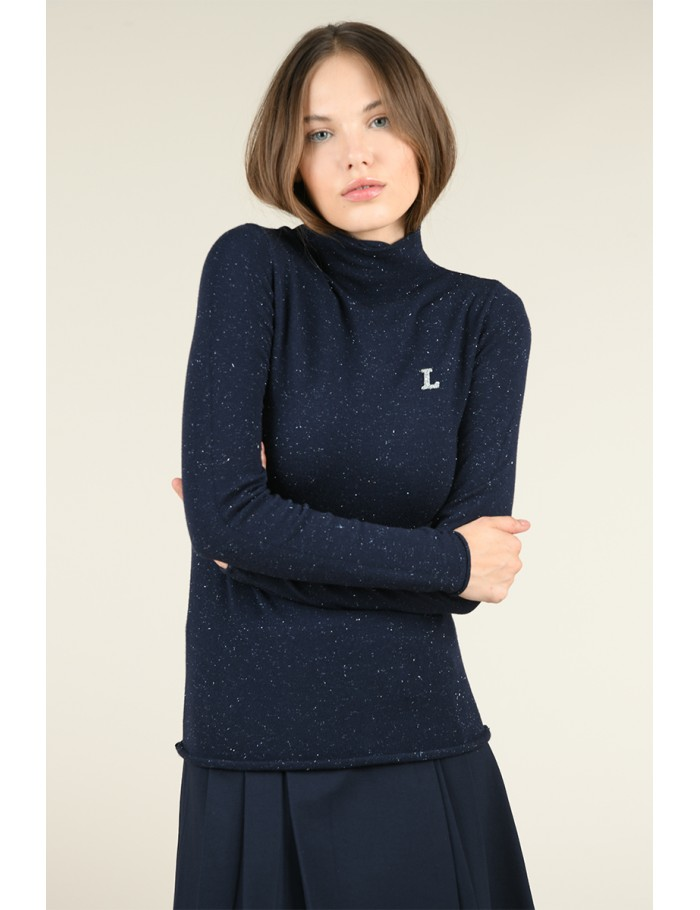 Pull col montant brodé