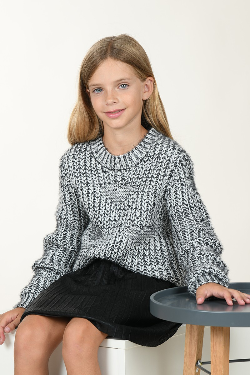 Cable stitch mottled knit jumper