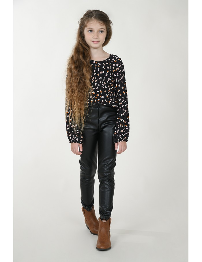 Black with oiled effect pants