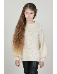 Knitted jumper with tulle
