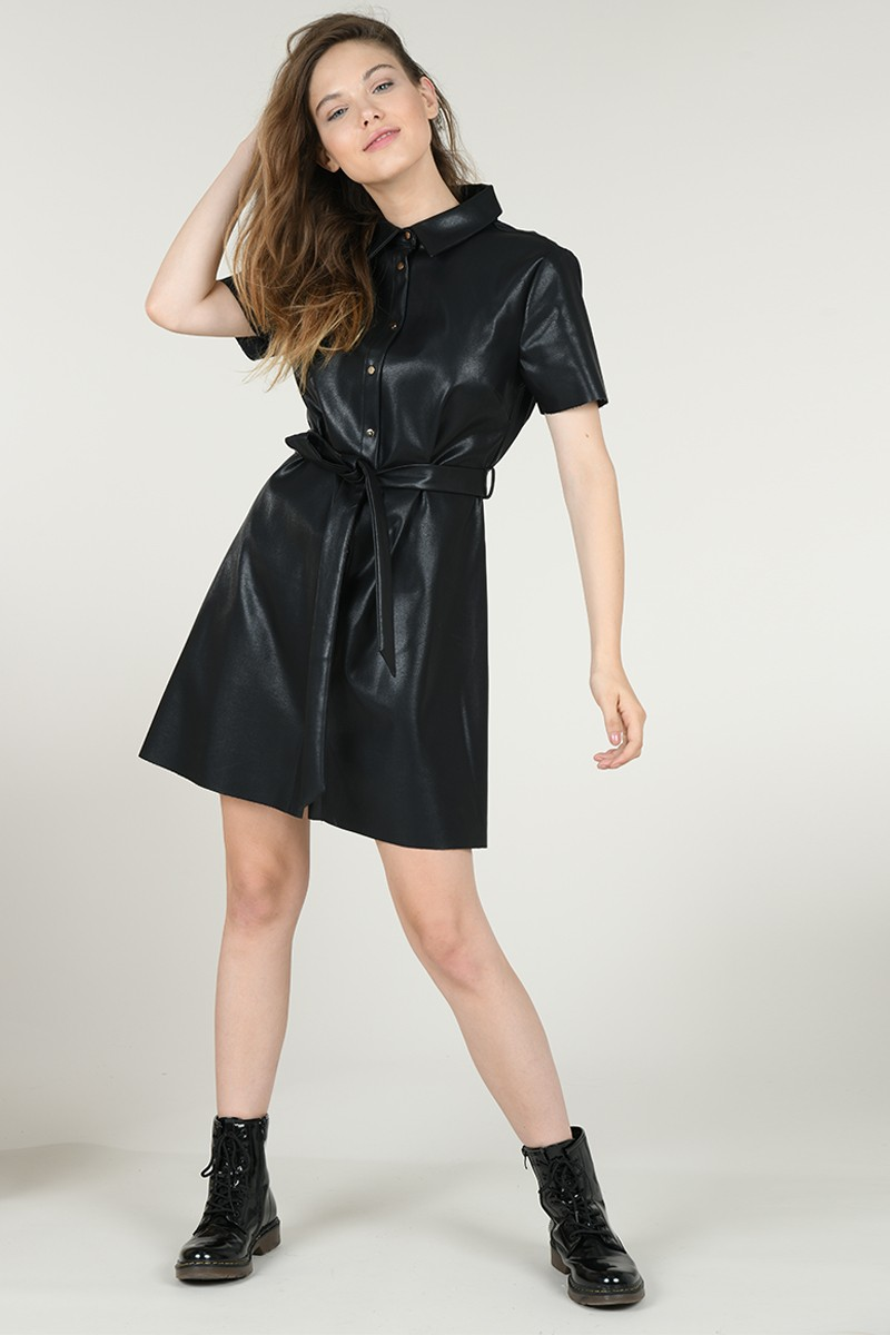 Faux leather short dress