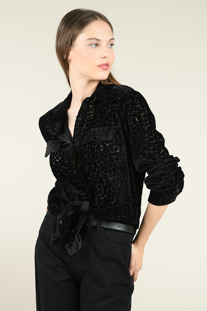 Velvet semi-sheer shirt