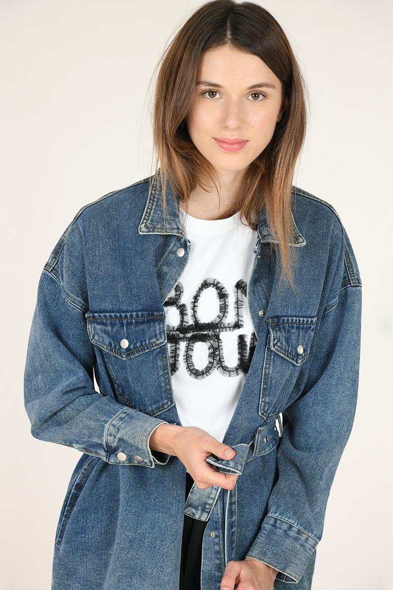 Long denim belted shirt