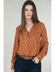 Shirt with pleated stand-up collar